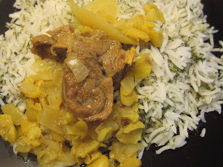 Shevid Polow Ba Goosh or Meat and Onion Stew with Dill Rice by ng @ Whats for Dinner?