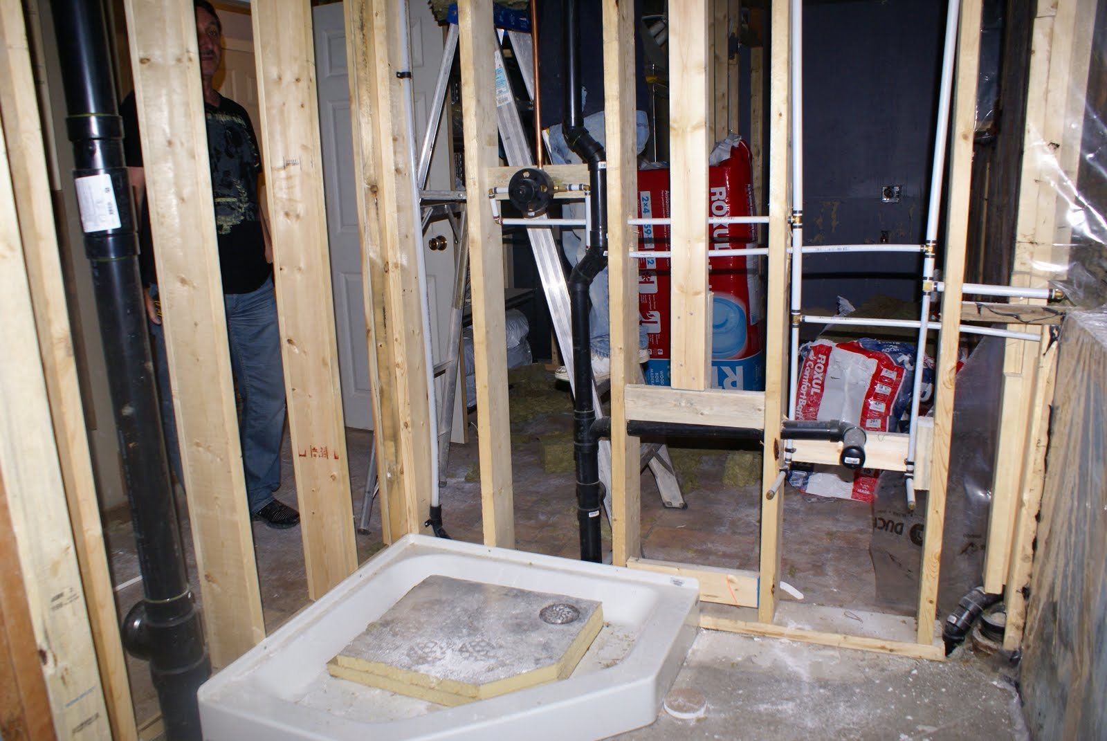 the drywall is put up on the inside of the bathroom see you can no