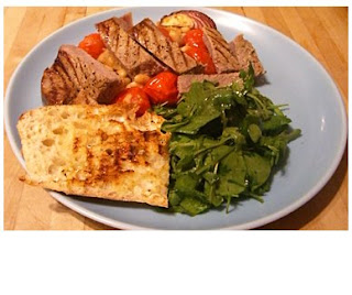 steak with cherry tomatoes and cannellini beans
