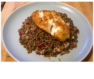roast cod on spiced puy lentils