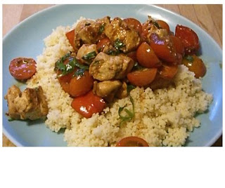 chicken with tomatoes, peppers & cous cous