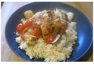 chicken with tomatoes, peppers and cous cous