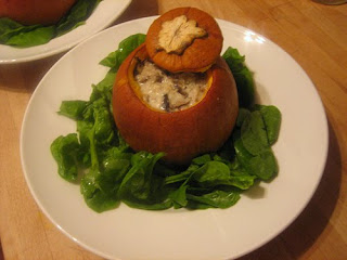 peter gordon's baked squash with coconut cream, shiitake mushrooms, ginger, chillies and coriander
