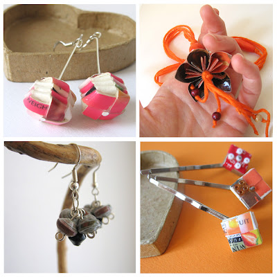 Relydesign, paper jewelry, recycle, upcycle, origami, eco friendly, hairpins, necklace, earrings