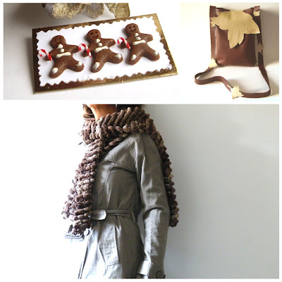 gingerbread man, scarf, bag, brown