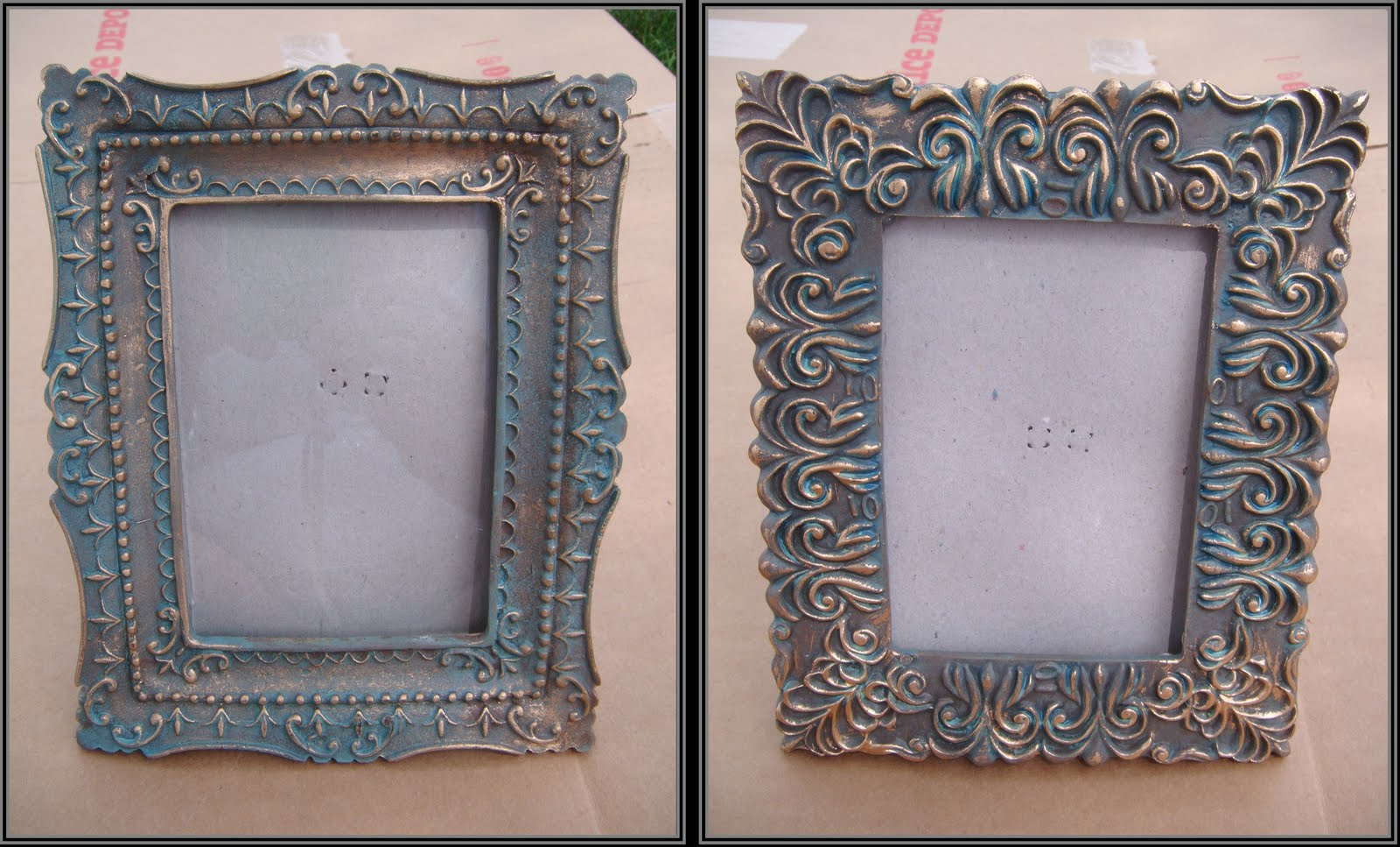 my first step was to spray paint my frames with valspar sky blue