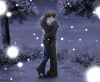 anime couple kissing