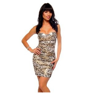 Tips to Wear Animal Print Dress-Leopard Strapless mini dress