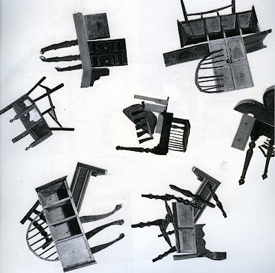 Black and white collage featuring proposals for a body of work entitled 'everything but the kitchen sink' .  These proposals are for pieces made out of parts of furniture assembled in unconventional ways.