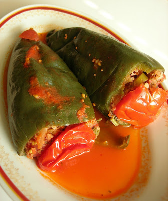 Turkish recipe with the substitution of poblanos for small bell peppers Stuffed Poblanos (Etli Poblano Dolması)