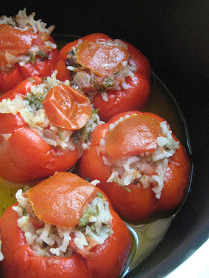 s almost summer and I cannot help but cook summer dishes Stuffed Red Bell Peppers (Zeytinyağlı Kırmızı Biber Dolması)