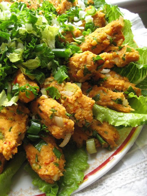 This vegetarian kofte is one of the most popular appetizers of Turkish cuisine Red Lentil Kofte / Mercimek Köftesi