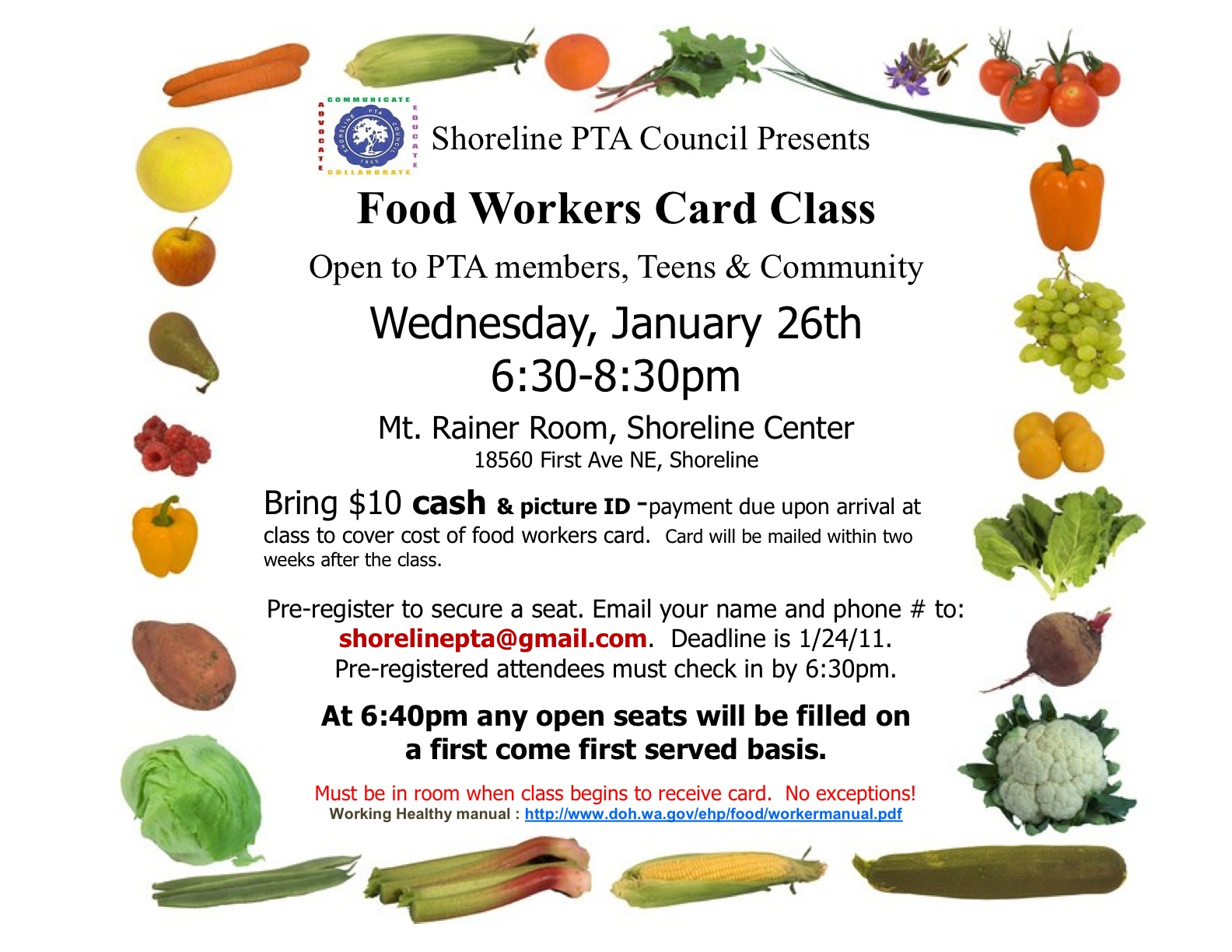 Shoreline area news food handlers 39 class open to for Ga fishing license for senior citizens