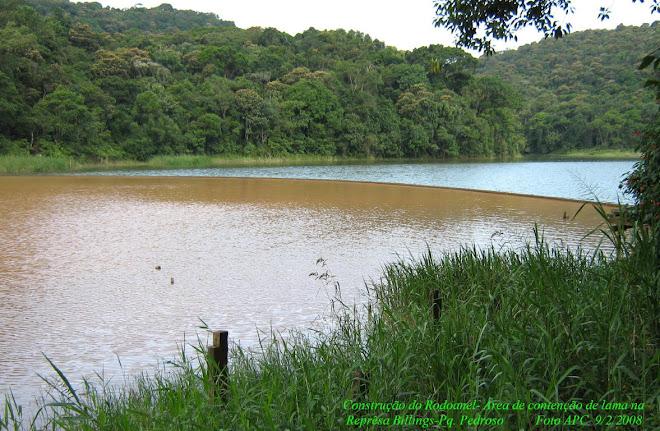 Esta foto mostra a lama levada para a represa pelas águas das nascentes