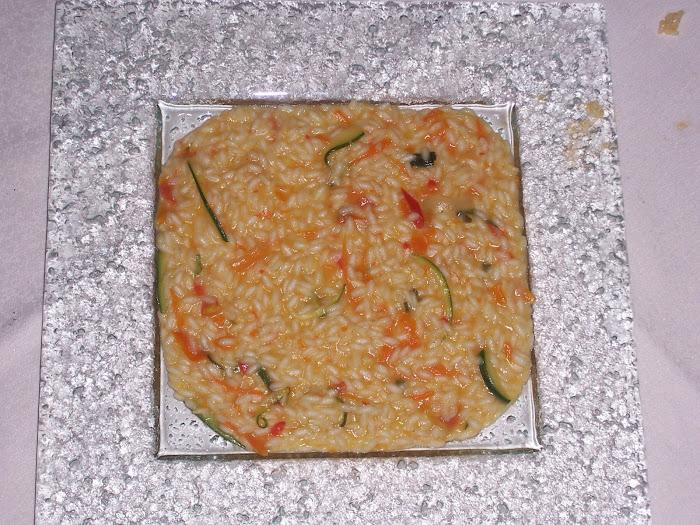 risotto con spaghetti di verdure