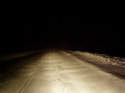 Snow at night on CR 84 in Blueridge, Essex County