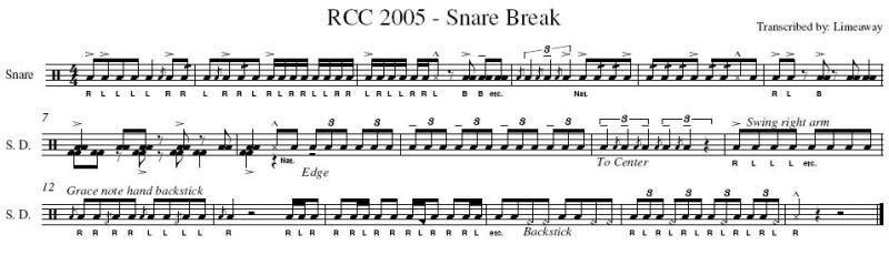 Percussion and drum stuff rcc 2005 snare break sheet music for Rcc home show