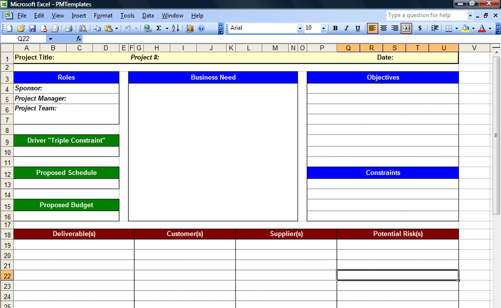 Excel Data Template