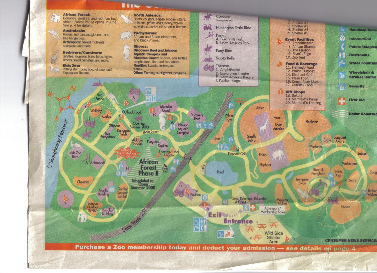 Zoo Tails Columbus Zoo Map from 2000