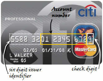 Credit Card Check Digit Validation