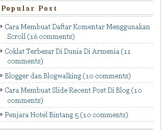 Cara Membuat, Popular Post, Di Blog