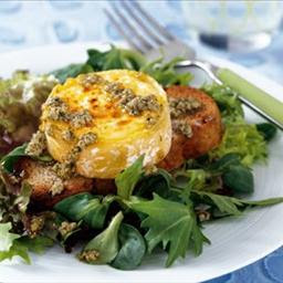 Warm Goats Cheese Salad with Herb and Walnut Vinaigrette