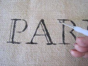 Handpainting Burlap Stencil