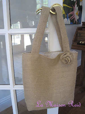 Burlap Tote with Shabby Rose Tutorial