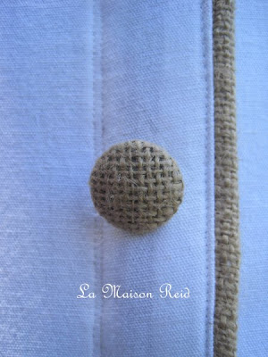 Burlap piping and burlap buttons on slipcover tutorial