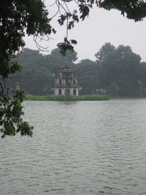 Hoan Kiem Lake is right in the heart of downtown Hanoi, Vietnam
