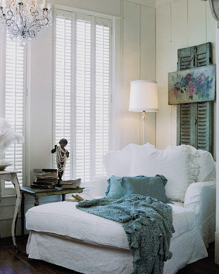 French Chaise with Weathered Shutters