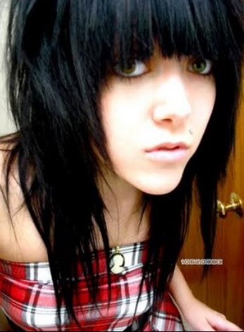 black emo hairstyle. Medium length emo hair with