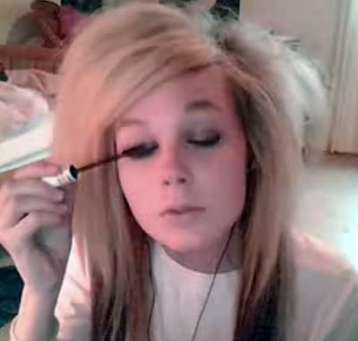blonde scene hair extensions. Cool scene girl doing her