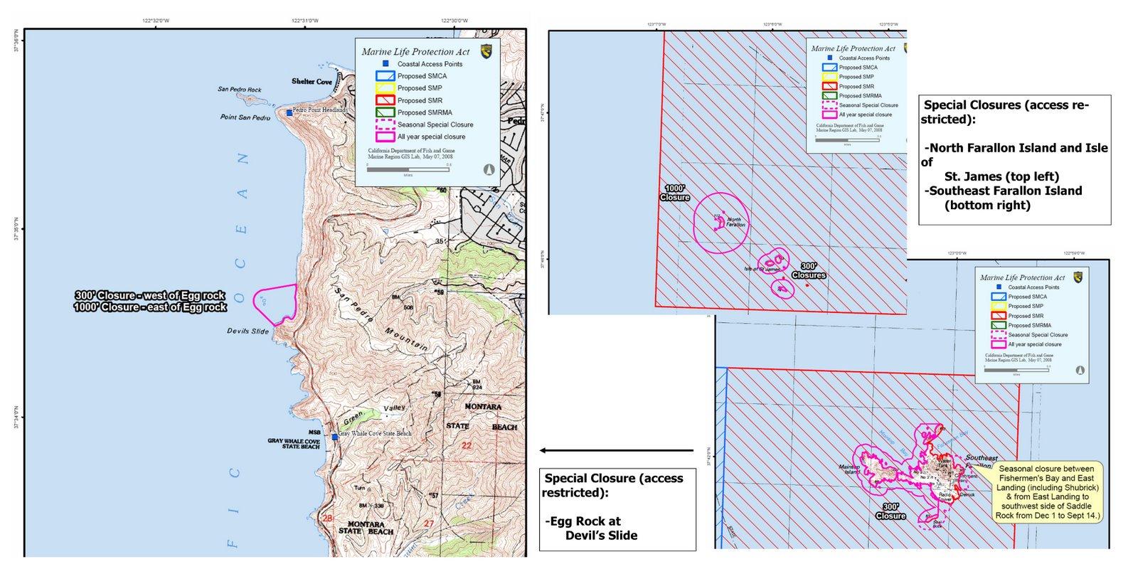 Egg Rock@ Devil's Slide (left), N. Farallon Island (top), Isle of St. James & SE Farallon (right)