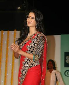 Katrina Kaif hot and sexy in red saree photo at Nakshatra Vivaah collection launch