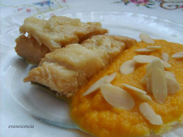 bacalao con salsa zanahorias emplatado