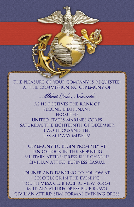 US Marinesthemed wedding invitation for his commissioning as a Second