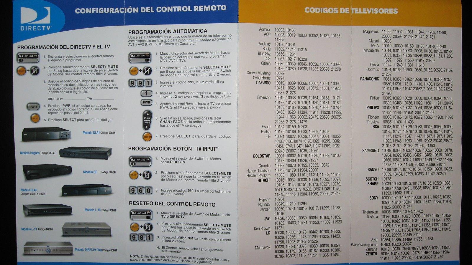 Codigos DirecTV y Controles universales