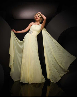 Long, yellow Paris prom dress