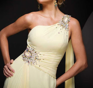 Yellow Paris Prom dress embellishments
