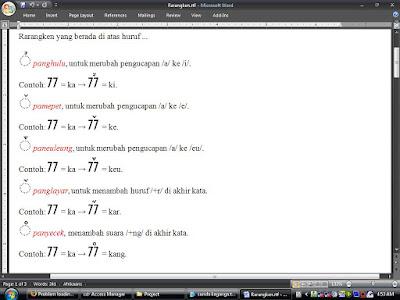 Mengenal Huruf Sunda Kaganga | Irfan's Blog | rarangken yang ditulis di atas huruf | panghulu, pamepet, paneuleung, panglayar, panyecek