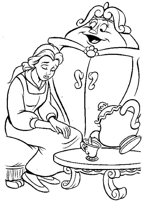 Princesas Disney Dibujos para colorear de La Bella y La Bestia