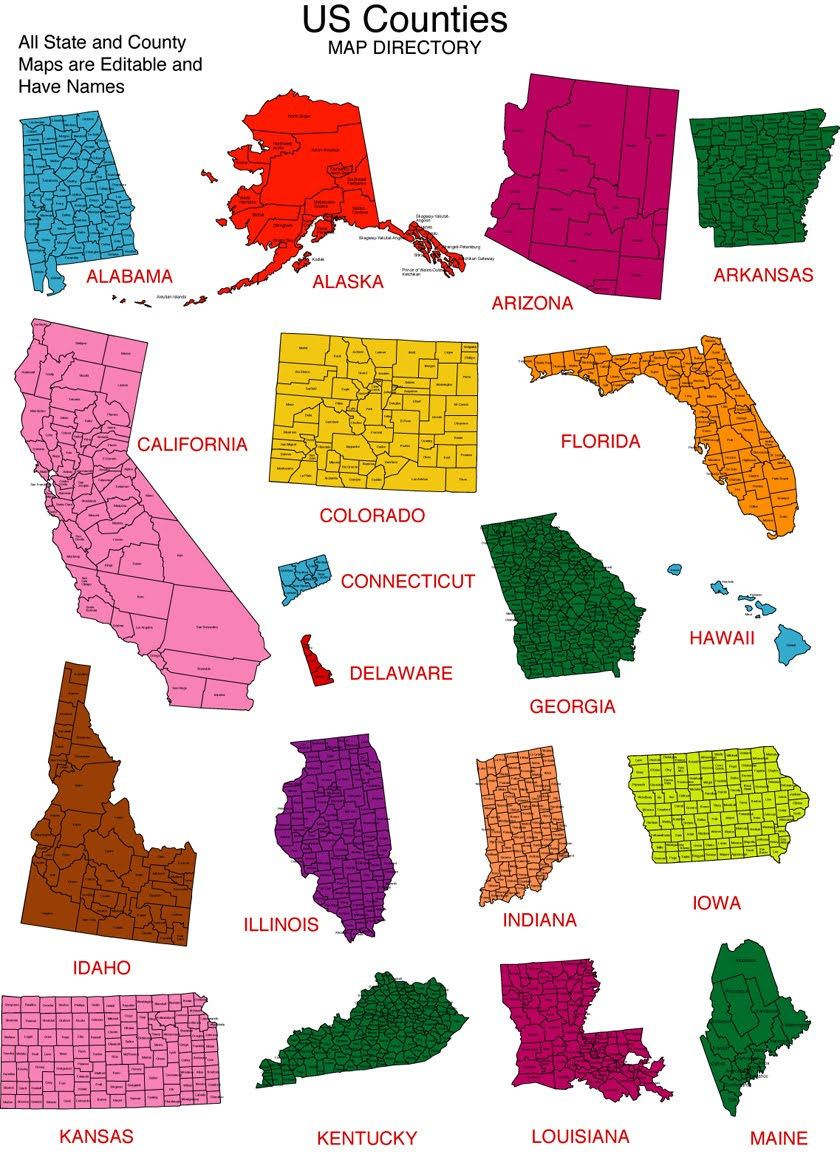 Maps For Design Editable Clip Art PowerPoint Maps May - Us individual state maps