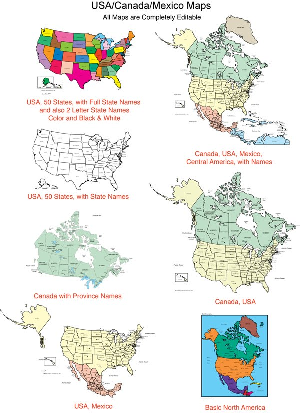 Maps For Design Editable Clip Art PowerPoint Maps USA and Canada Maps