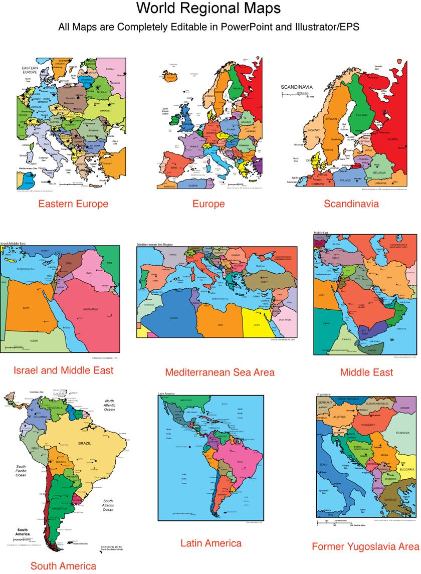 Maps For Design Editable Clip Art PowerPoint Maps World