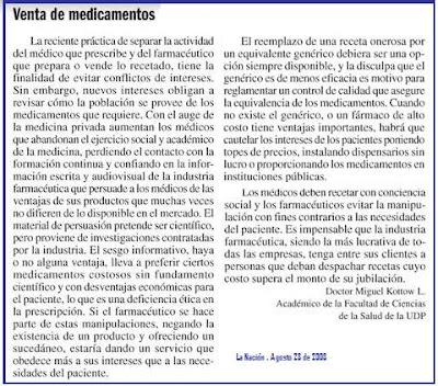 La Nación, Agosto 23 de 2008 ... interesante comentario ...