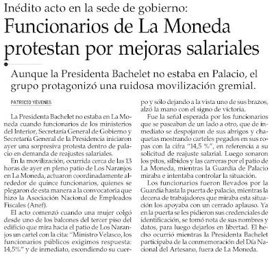 manifestantes a favor de un reajuste salarial - El Mercurio Noviembre 8, 2008