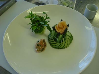Salmon, cucumber and tomato quenelle