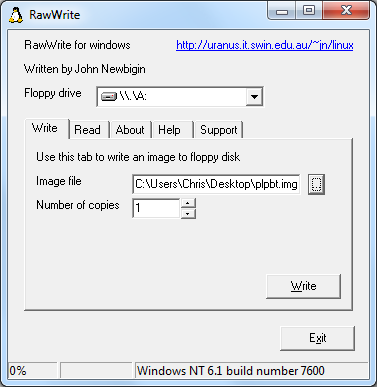 RawWrite. Used to create floppy disk