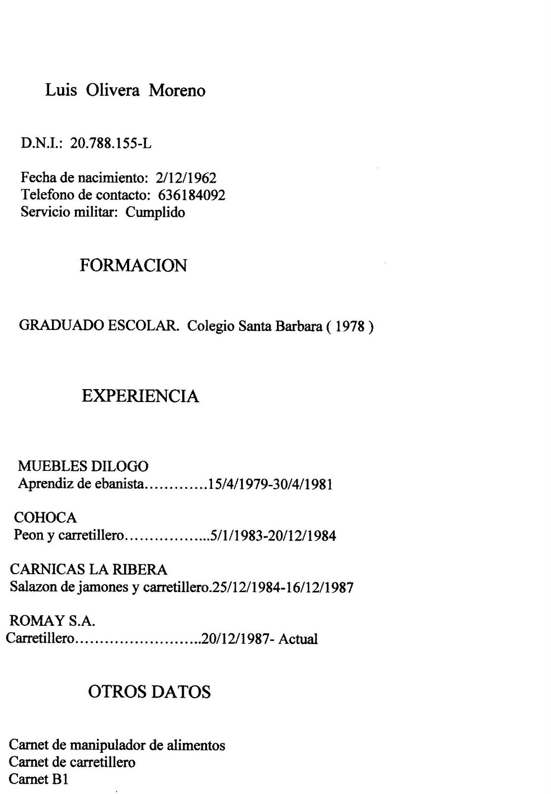 Another Curriculum Vitae Formato Pdf Para Llenar Descargar Funny